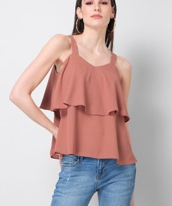 Faballey Dusty Pink Strappy Layered Top