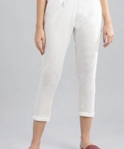 Aurelia Off-White Solid Trousers