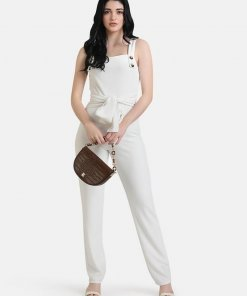 KAZO JUMPSUIT WITH BUTTON DETAILED STRAPS & TIE-UP
