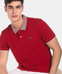 ARROW SPORT Men Red Patterned Collar Solid Polo Shirt