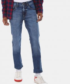 FLYING MACHINE Men Blue Mid Rise Michael Slim Tapered Fit Jeans