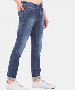 FLYING MACHINE Men Blue Low Rise Jackson Skinny Fit Stone Wash Jeans