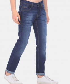 FLYING MACHINE Men Navy Low Rise Jackson Skinny Fit Stone Wash Jeans