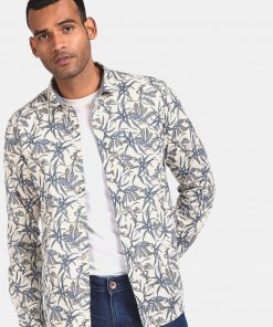 FLYING MACHINE Men Off White Spread Collar Printed Casual Shirt