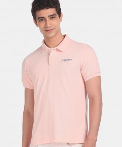 FLYING MACHINE Men Light Pink Ribbed Collar Solid Pique Polo Shirt