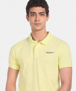 FLYING MACHINE Men Light Yellow Ribbed Collar Solid Pique Polo Shirt
