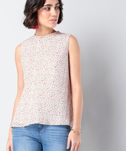 Faballey White Ditsy Floral Frill Neck Blouse