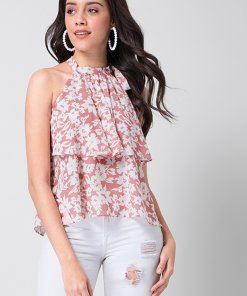 Faballey Pink White Floral Halter Top
