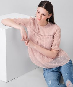 Faballey Blush Dotted Tiered Trim Top