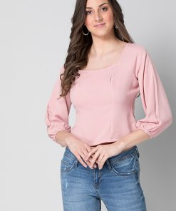 Faballey Peach Smocked Cutout Back Top