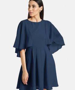 Kazo FIT & FLARE MINI DRESS WITH CAPE SLEEVES