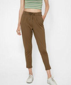 ONLY BROWN MID RISE TAPERING PANTS
