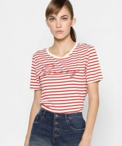 ONLY RED STRIPED EMBROIDERY TEXT PRINT T-SHIRT