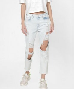 ONLY LIGHT BLUE HIGH RISE RIPPED STRAIGHT JEANS