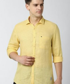 Peter England Yellow Full Sleeves Casual Shirt