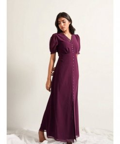 COVERSTORY Marion Wine Maxi Dress