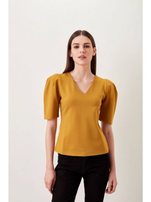 COVERSTORY Mustard Puffed Sleeves Top