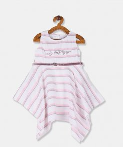 U.S. POLO ASSN. KIDS Girls White Striped Fit And Flare Partywear Dress