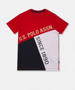 U.S. POLO ASSN. KIDS Boys Red Round Neck Color Block T-Shirt