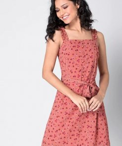 Faballey Coral Strappy Belted Ruffle Dress