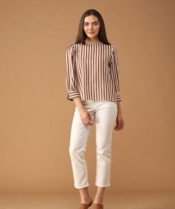 Gipsy Women Round Neck Long Sleeves Striped Mocca Color Tops