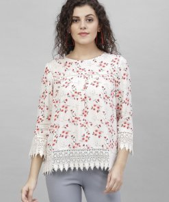 Gipsy Cream Floral Print Polyester Tunic