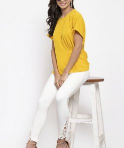 Gipsy Women Round Neck Short Sleeves Solid Yellow Color Tops